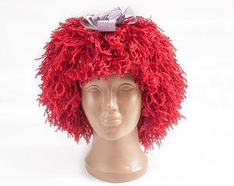 Raggedy Ann Wig Yarn Hat, RED hat, Jokes hats Halloween wig, Adults and children's hats, jokes, carnival costumes, cap wig, reusable wig