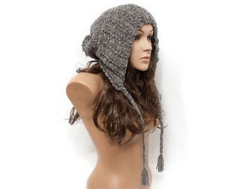 Knit Hat Women Gray Hat Velours hat Soft hat  - Hat pompom - Ear Flap Hat - Knit Accessories Gift For Her