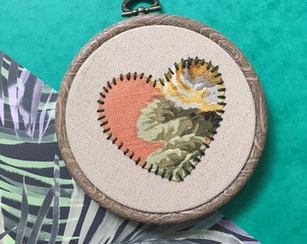 Floral Heart Embroidery Hoop Art, Appliqué, gift