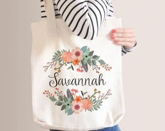 Personalized Floral Tote Bag | Bridesmaid Tote Bag | Bridesmaid Gift | Natural Floral Wreath | Custom Name Canvas Tote Bag | Sister Gift
