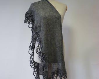 Boho grey mohair scarf.