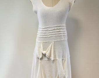 Special price. Summer romantic white linen dress, M size.