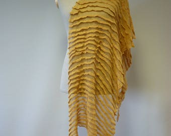 Artsy handmade yellow mango shawl. Perfect for gift, made of linen.