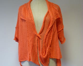 Boho handmade orange linen vest, XL size.