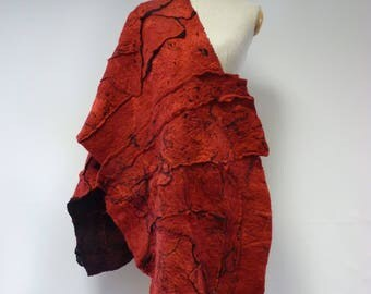 The hot price. Warm red felted shawl. Perfect for Winter gift.