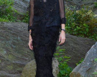 Black Silk Organza Blouse with Hand Applied Lace