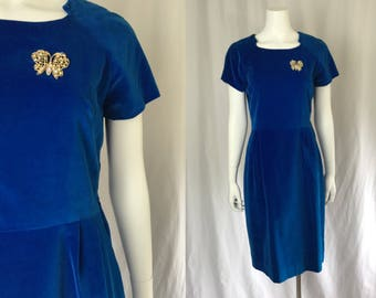 Medium ** 1950s BLUE VELVETEEN rhinestone dress ** vintage fifties blue velvet dress