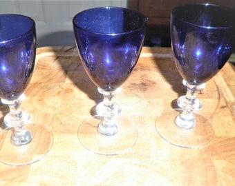 Vintage 4 3/4 inch blue glass decorative glasses