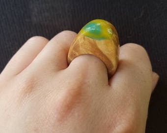 Handmade Burl Ring with Acrylic Accent