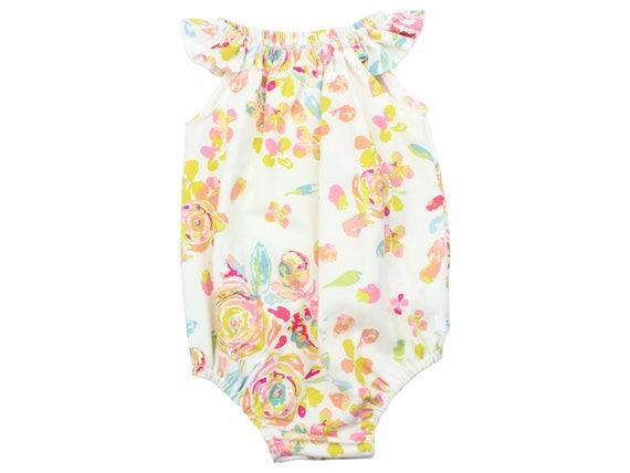 Baby Romper with Snaps Pink Rose Baby Romper Summer Floral Romper Modern Baby Romper Flutter Sleeve Romper Knit Romper Watercolor Roses