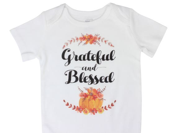 Grateful and Blessed Thanksgiving Bodysuit Thanksgiving Raglan Baby Thanksgiving Pumpkin Shirt Floral Pumpkin Outfit Fall Outfit Fall Baby