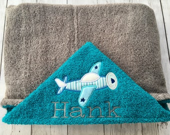 Hooded Baby Towel, Toddler Hooded Towel, Airplane Towel, Teal, Gray, Light Blue Towel, Airplane for Baby, Baby Shower Gift