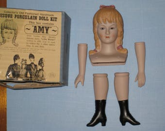 """Vintage Shackman Bisque Porcelain """"AMY"""" Doll Parts (made in Japan)"""