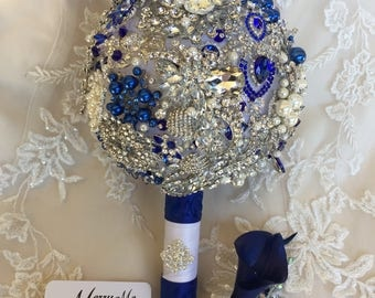 Brooch Bouquet - Blue and Silver Brooch Bouquet - Blue Brooch Bouquet - Blue Broach Bouquet - Silver and Blue Broach Bouquet - Blue Bouquet