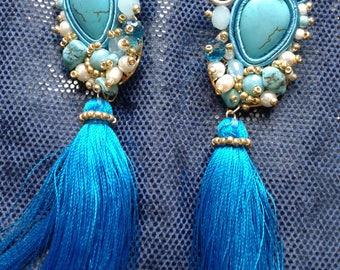 Soutache earrings Turquoise earrings