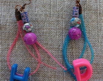 Earrings pink and blue Scoubidous HD