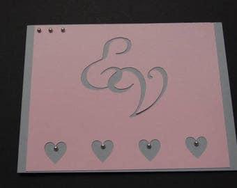 Wedding invitation - little beaded heart theme