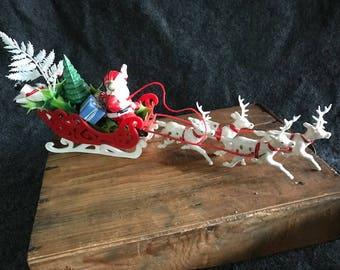 Vintage Santa sleigh and reindeer