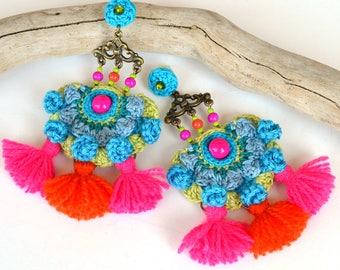 pom pom earrings, colorful festival earrings, mexican earrings, bold fringe earrings, large tassel earrings, neon earrings, gipsy earrings