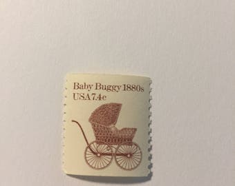 10 Vintage 7.4c US postage stamps - Baby Buggy 1880's 1984 - neutral color theme - shower announcements - unused