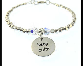 Keep Calm Carry On bracelet, keeping calm, keep calm charm, charm bracelet, fine silver jewelry, find silver bracelet, silver jewelry