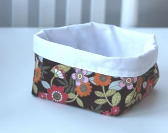 Handmade basket floral fabric textile homemade cotton bin flowers orange yellow red olive cream summer perfect small gift Christmas