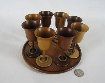 Clay Compton turned wood set of 8 cordial glasses with connected rings and serving plate