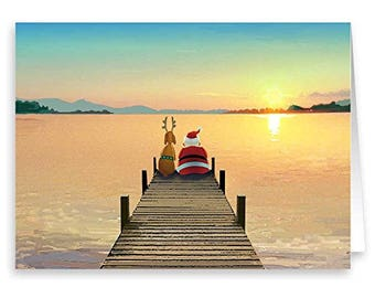 Dock Sunset Christmas Card - 18 Cards and Envelopes - 60037