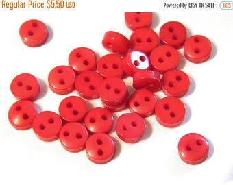 HALF PRICE 50 Tiny 5mm Red Buttons