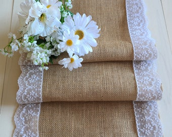 Great Burlap And Lace Table Runner | Etsy