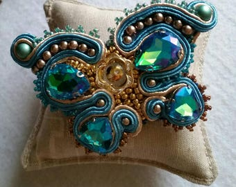 Butterfly brooch soutache bead embroidery ready for shipment