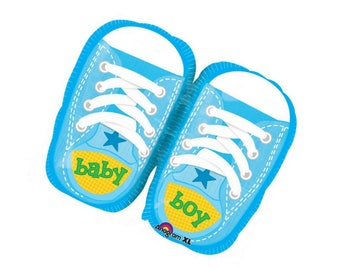 """Baby Boy Foil Balloon - blue baby shoes 22""""x 18.5"""""""