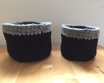 Handmade Black and Grey Crochet Nesting Basket Duo