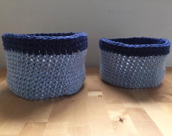 Handmade Light and Dark Blue Crochet Nesting Basket Duo