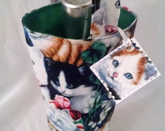 wine tote, fun gift bag for people who like or has cats, new pet owner, beverage carrier for water