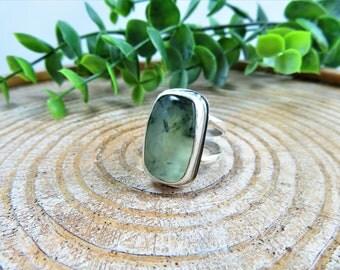 Prehnite Sterling Silver Ring  -  Size 8