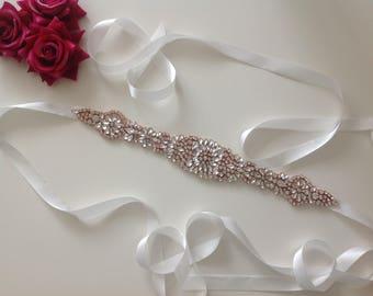 ROSIE Rose gold ivory satin sparkly beaded diamanté crystals rhinestones Wedding bridal lace dress sash belt waist band.