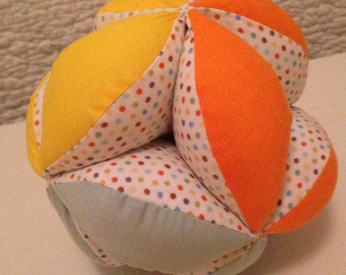 Montessori Infant Puzzle Ball Gender Neutral Cloth Clutch Ball. Geometric Sensory Learning Toy. Soft and Safe for indoor Kid's and Baby Play