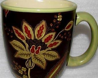 """ON SALE Jaclyn Smith TURKISH Floral-Brown Lot of 4 Mugs Traditions Line Sage Trim Mint Condition 4"""" tall"""