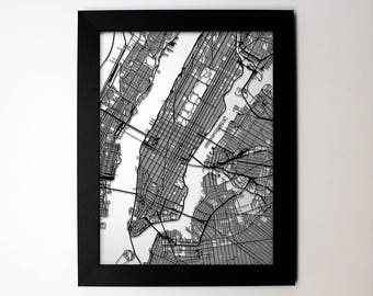 Choose your city! - laser cut street map modern art - Any custom city in the world city map wall decor graduation wedding gift