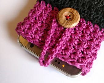 Mobile phone case hot pink black phone case with wooden button crochet phone Accessories ready to ship gift for teens organization ideas