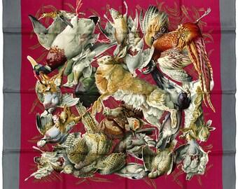 "HERMES SCARF Silk ""Gibiers"" by Henri de Linares 90cm Carre 100% Auth"
