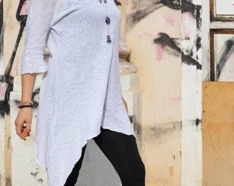 SALE Asymmetric  White Knit Cotton Sweater / Extravagant Spring Sweater/ Loose Tunic zm036