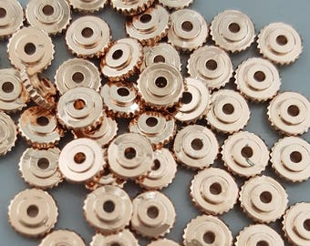 50 Pcs - Flat Round Brass Bead Spacers, 6x2mm, Select Rose Gold, Gold, Black, Silver or Mixed