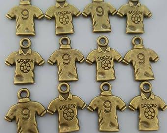 Soccer T-Shirt Antique Brass Charms, 19x15mm - 10 Pieces