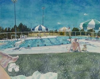 Swimming pool watercolor print. Swimming Painting. Watercolor art. Watercolor painting. Swim painting. Watercolor umbrella. Pool painting.