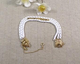 MONET Vintage Triple Strand White Enamel And Gold Tone Chain Link Bracelet Signed Monet DL# 4575