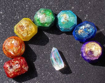 Orgone - Chakra - Gemstone Set - Chakra Orgone - Handmade - HoodxHippie - Chakras - Rainbow - Crystals - EMF Protection - Reiki - Yoga