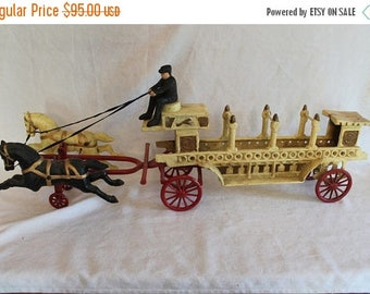 """Christmas in July Cast Iron 35"""" Long Dual Horse Drawn Wagon with Driver"""