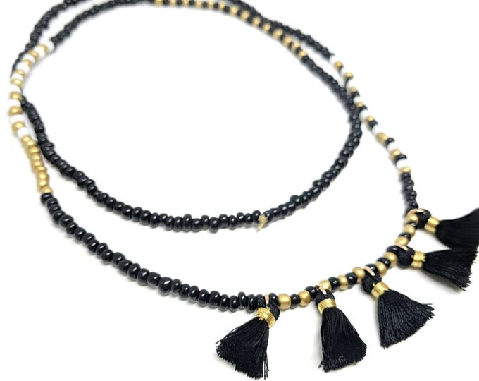 Black and White Seed Bead Necklace, Lone Seed Bead Necklace, Long Tassel Necklace, Wrap Bracelet, Tassel Wrap Bracelet, Multi Wrap Bracelet